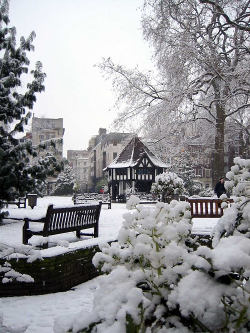 snow on soho square